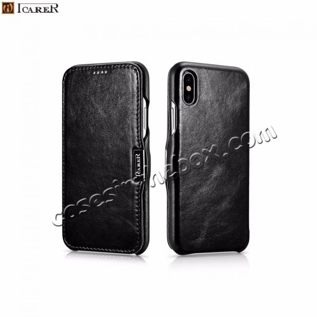 discount ICARER Vintage Genuine Leather Side Magnetic Flip Case for Apple iPhone 8 / XS Max / XS / XR + FREE SHIPPING