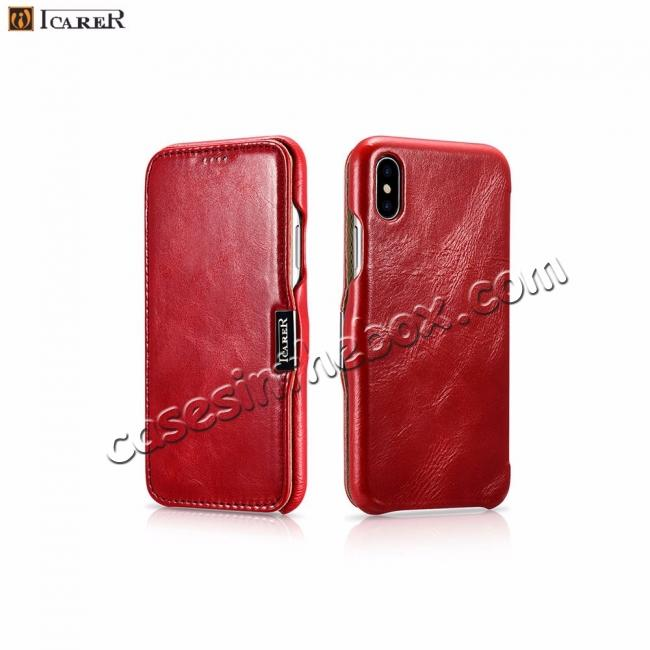 top quality ICARER Vintage Genuine Leather Side Magnetic Flip Case for Apple iPhone 8 / XS Max / XS / XR + FREE SHIPPING
