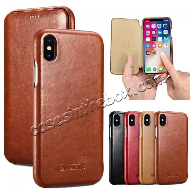 wholesale ICARER Vintage Case For iPhone XS Max / XS / XR / X / Samsung Note 9 Curved Edge Flip Real Leather