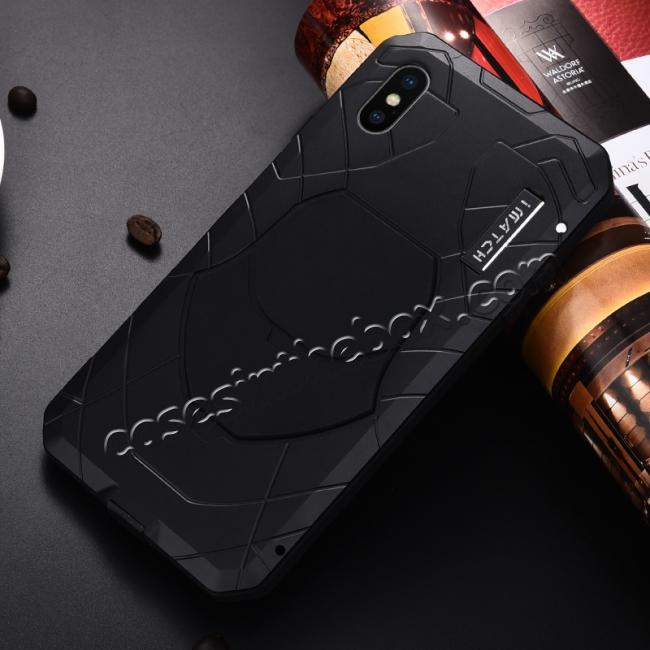 discount For iPhone XS Max Luxury Waterproof Shockproof Aluminum Metal Tempered Glass Case - Black