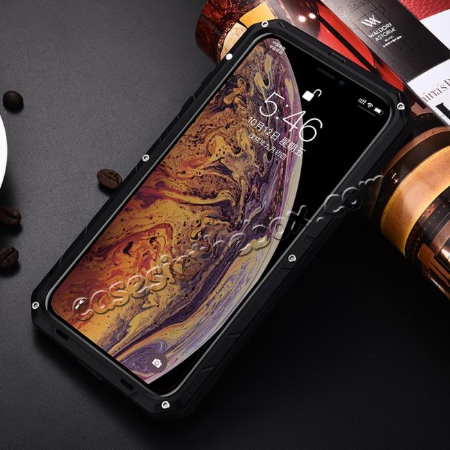 cheap For iPhone XS Max Luxury Waterproof Shockproof Aluminum Metal Tempered Glass Case - Black