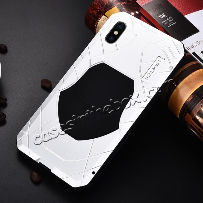 discount For iPhone XS Max Luxury Waterproof Shockproof Aluminum Metal Tempered Glass Case - Silver
