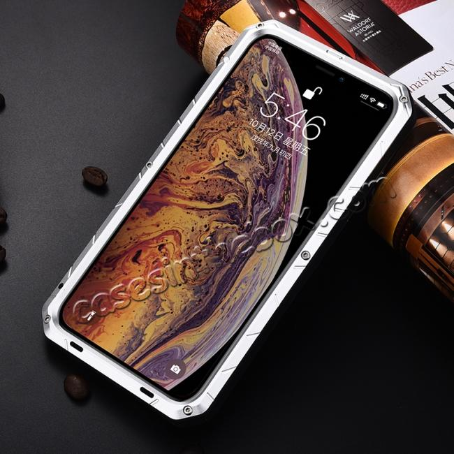 cheap For iPhone XS Max Luxury Waterproof Shockproof Aluminum Metal Tempered Glass Case - Silver