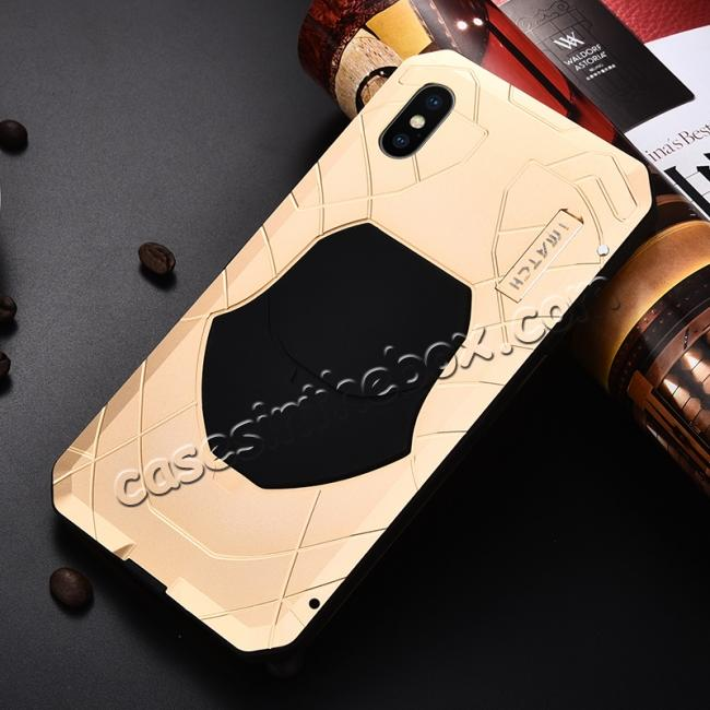 discount For iPhone XS Max Luxury Waterproof Shockproof Aluminum Metal Tempered Glass Case - Gold