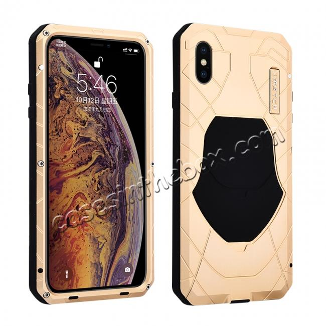 wholesale For iPhone XS Max Luxury Waterproof Shockproof Aluminum Metal Tempered Glass Case - Gold