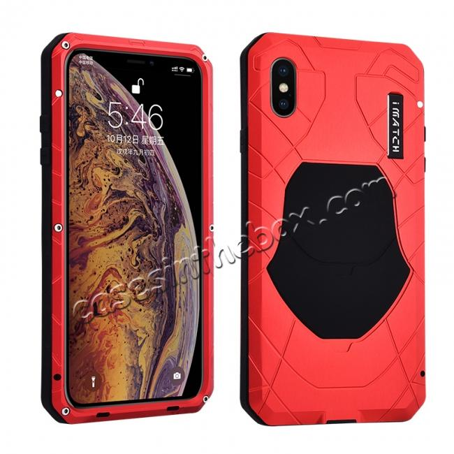 wholesale For iPhone XS Max Luxury Waterproof Shockproof Aluminum Metal Tempered Glass Case - Red