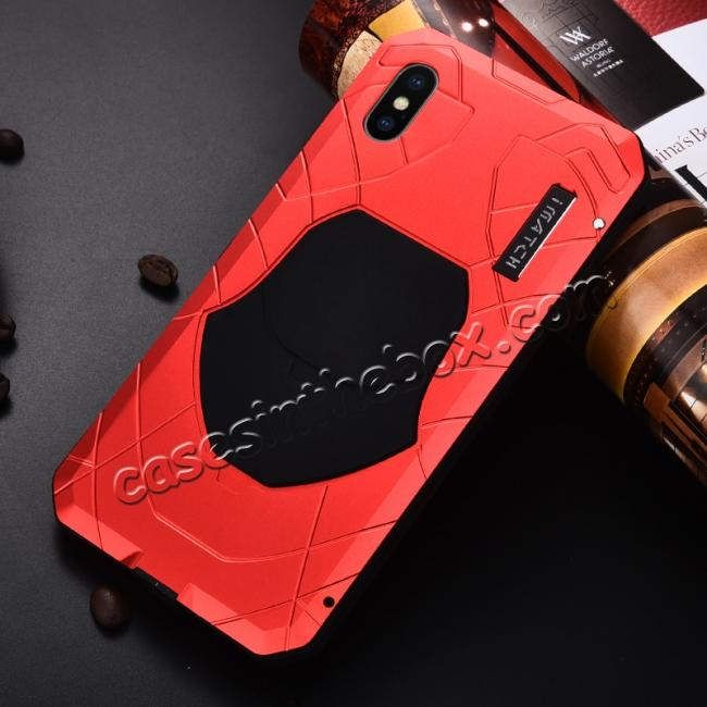 discount For iPhone XS Max Luxury Waterproof Shockproof Aluminum Metal Tempered Glass Case - Red