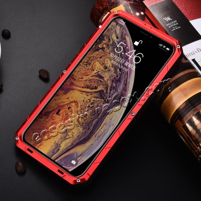 cheap For iPhone XS Max Luxury Waterproof Shockproof Aluminum Metal Tempered Glass Case - Red