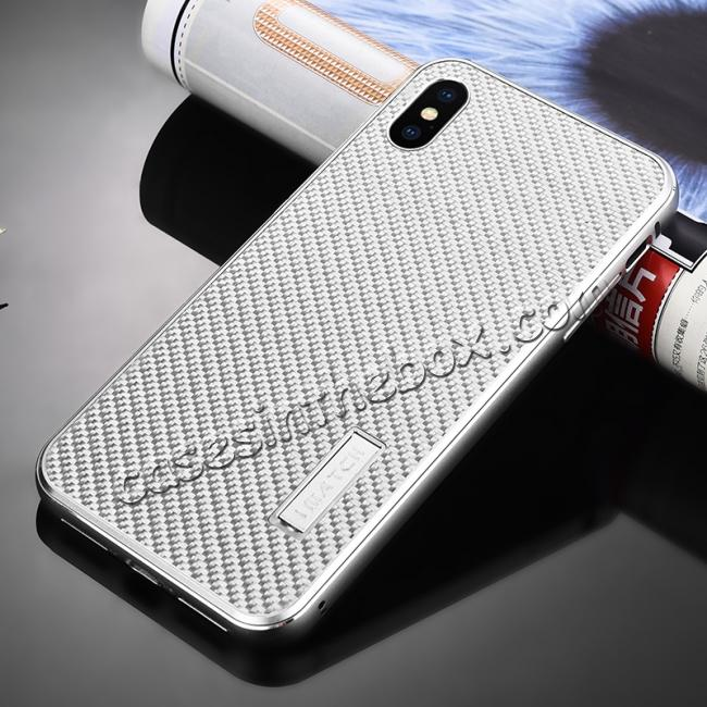 cheap Aluminium Metal Carbon Fiber Case For iPhone XS Max - Silver