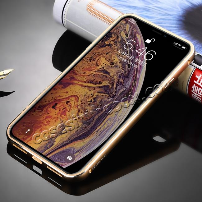 cheap Aluminium Metal Carbon Fiber Case For iPhone XS Max - Gold