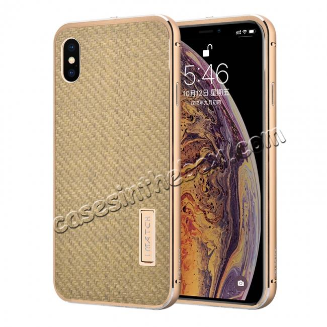 wholesale Aluminium Metal Carbon Fiber Case For iPhone XS Max - Gold