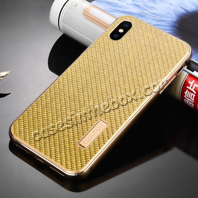 discount Aluminium Metal Carbon Fiber Case For iPhone XS Max - Gold