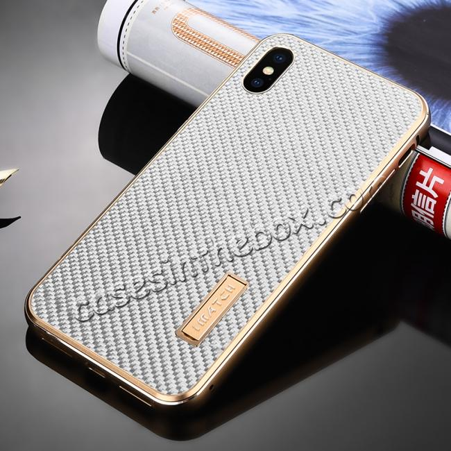 cheap Aluminium Metal Carbon Fiber Case For iPhone XS Max - Gold&Silver