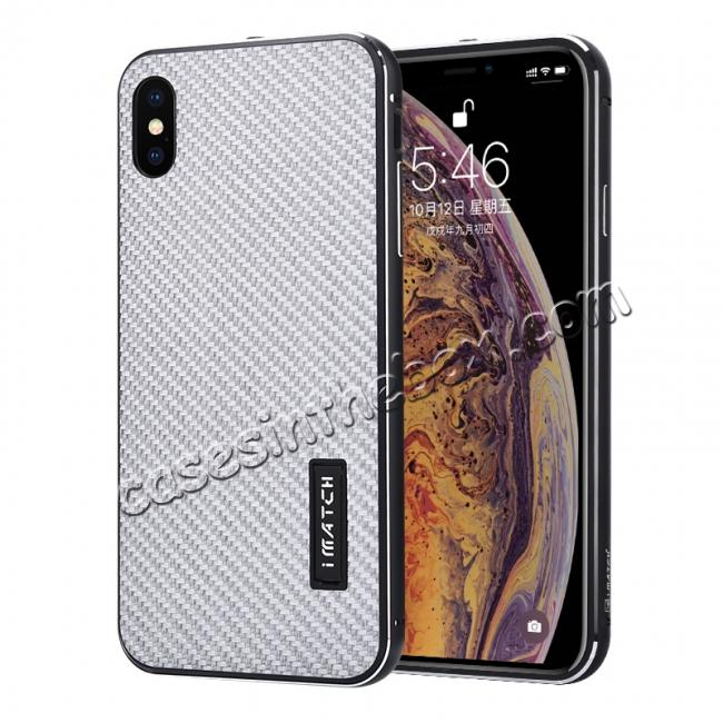 wholesale Aluminium Metal Carbon Fiber Case For iPhone XS Max - Black&Silver