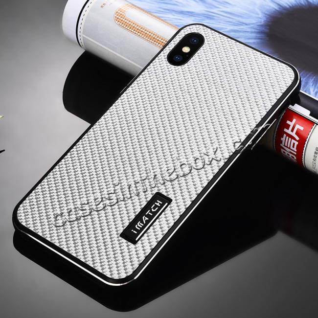 cheap Aluminium Metal Carbon Fiber Case For iPhone XS Max - Black&Silver