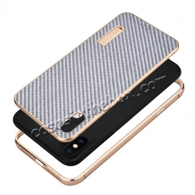 best price Aluminium Metal Carbon Fiber Case For iPhone XS Max - Black&Silver