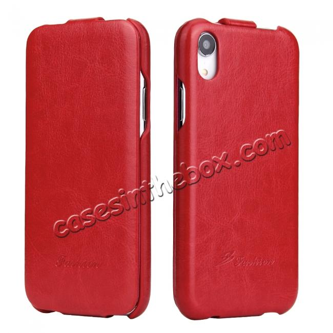 wholesale Crazy Horse Pattern Leather Case for iPhone XR - Red