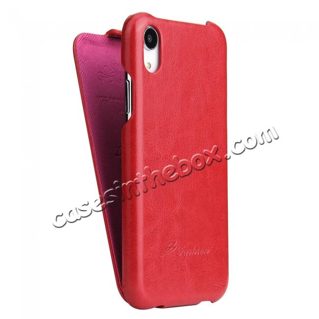 cheap Crazy Horse Pattern Leather Case for iPhone XR - Red