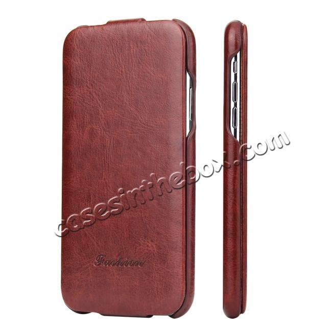 discount Crazy Horse Pattern Leather Case for iPhone XR - Brown