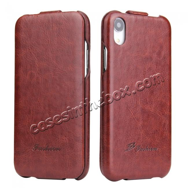wholesale Crazy Horse Pattern Leather Case for iPhone XR - Brown