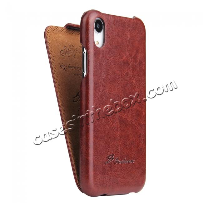 cheap Crazy Horse Pattern Leather Case for iPhone XR - Brown