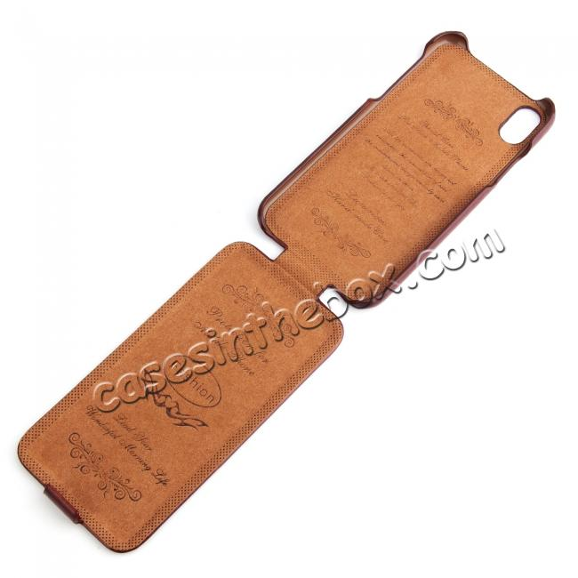 top quality Crazy Horse Pattern Leather Case for iPhone XR - Brown