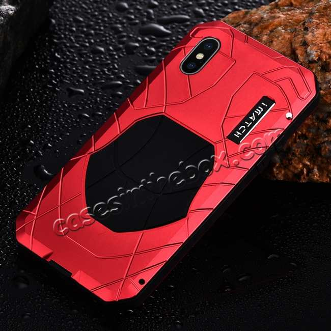cheap Waterproof Shockproof Aluminum Gorilla Glass Case for iPhone XS - Red