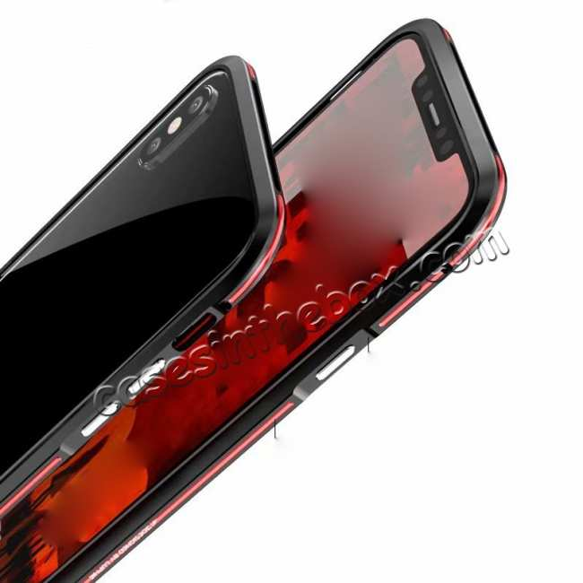 cheap Dual Color Aluminum Metal Frame Case for iPhone XS Max - Red&Black