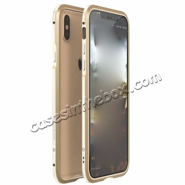 wholesale Dual Color Aluminum Metal Frame Case for iPhone XS Max - Silver&Gold