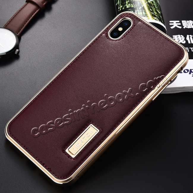 discount Aluminum Metal Genuine Leather Case for iPhone XS Max - Gold&Red