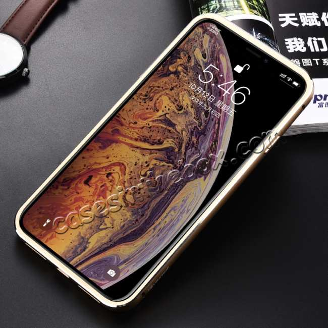 cheap Aluminum Metal Genuine Leather Case for iPhone XS Max - Gold&Red