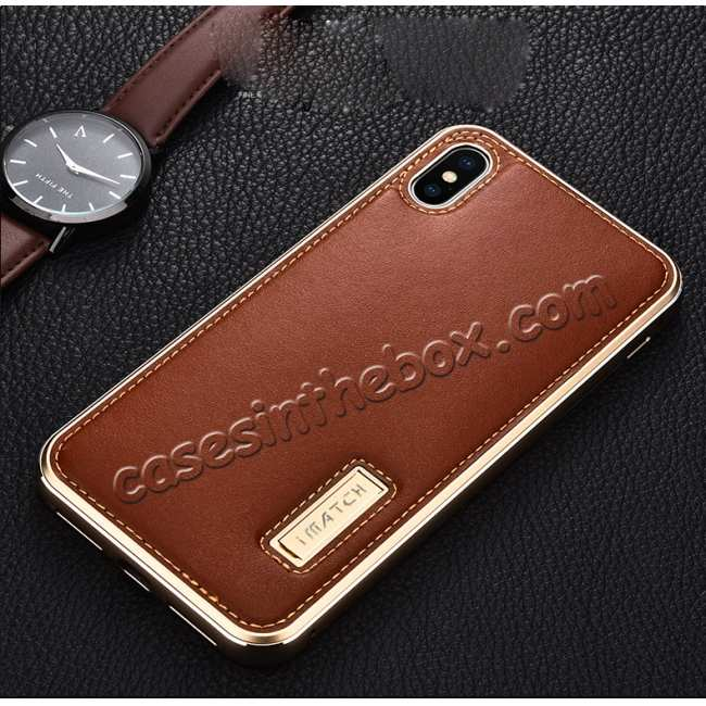 top quality Aluminum Metal Genuine Leather Case for iPhone XS Max - Gold&Red