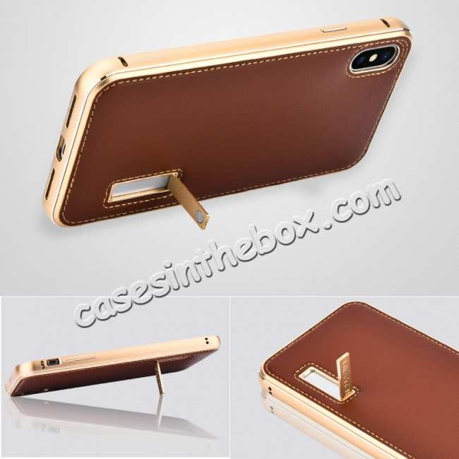 best price Aluminum Metal Genuine Leather Case for iPhone XS Max - Gold&Red