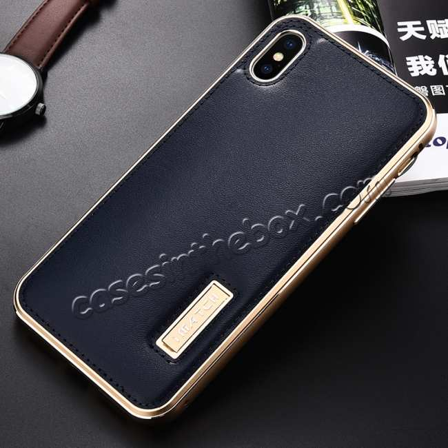discount Aluminum Metal Genuine Leather Case for iPhone XS Max - Gold&Dark Blue
