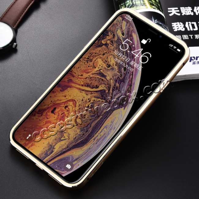 cheap Aluminum Metal Genuine Leather Case for iPhone XS Max - Gold&Dark Blue