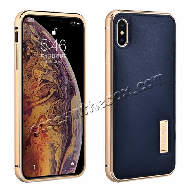 wholesale Aluminum Metal Genuine Leather Case for iPhone XS Max - Gold&Dark Blue
