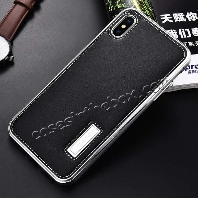 discount Aluminum Metal Genuine Leather Case for iPhone XS Max - Silver&Black