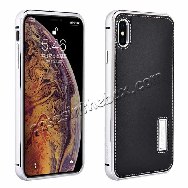 wholesale Aluminum Metal Genuine Leather Case for iPhone XS Max - Silver&Black