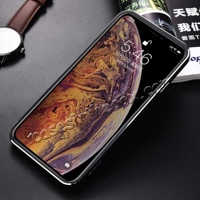 cheap Aluminum Metal Genuine Leather Case for iPhone XS Max - Black