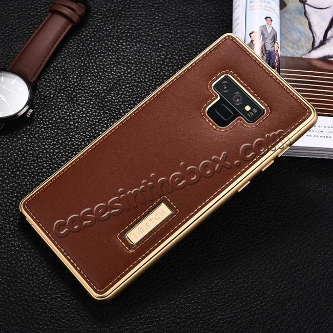 discount For Samsung Galaxy Note 9 Deluxe Aluminum Metal Genuine Leather Protective Back Case - Gold&Brown