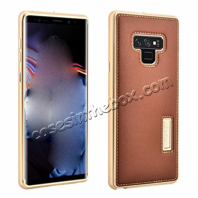 wholesale For Samsung Galaxy Note 9 Deluxe Aluminum Metal Genuine Leather Protective Back Case - Gold&Brown