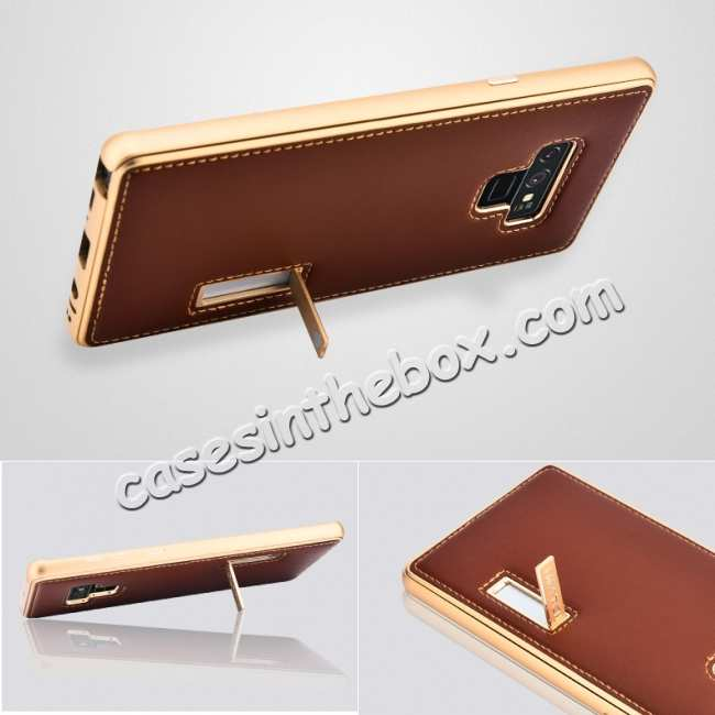 top quality For Samsung Galaxy Note 9 Deluxe Aluminum Metal Genuine Leather Protective Back Case - Gold&Brown