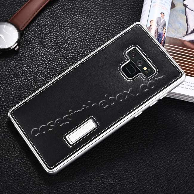 discount For Samsung Galaxy Note 9 Deluxe Aluminum Metal Genuine Leather Protective Back Case - Silver&Black