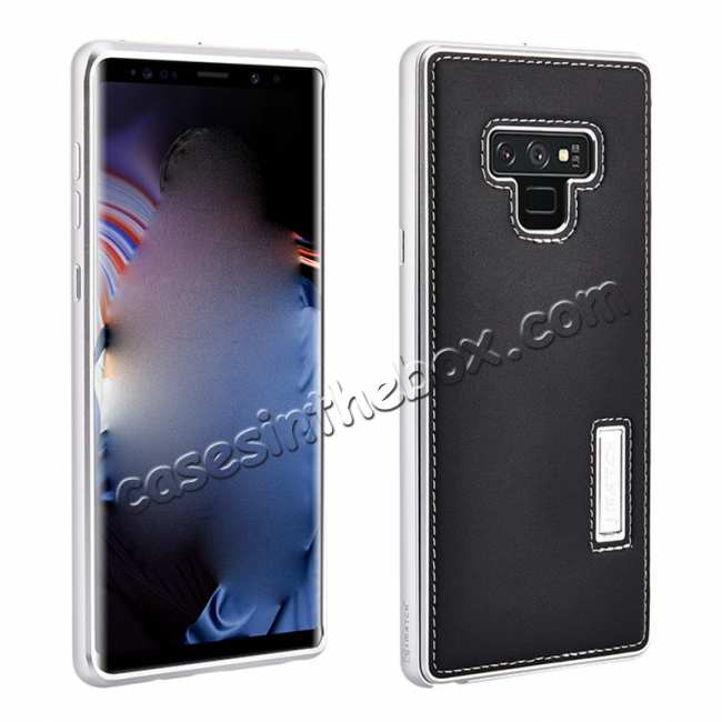 wholesale For Samsung Galaxy Note 9 Deluxe Aluminum Metal Genuine Leather Protective Back Case - Silver&Black