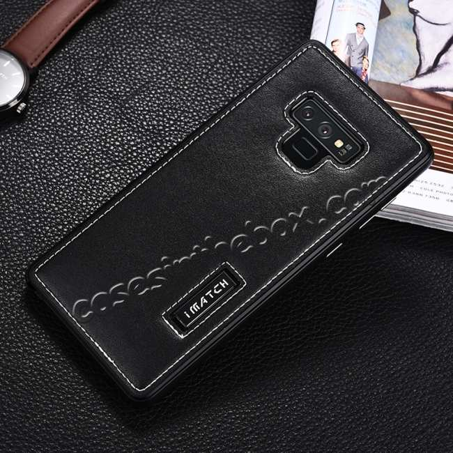 discount For Samsung Galaxy Note 9 Deluxe Aluminum Metal Genuine Leather Protective Back Case - Black