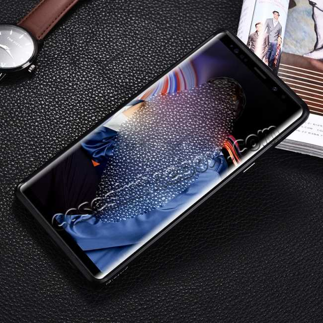 cheap For Samsung Galaxy Note 9 Deluxe Aluminum Metal Genuine Leather Protective Back Case - Black