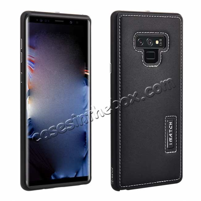 wholesale For Samsung Galaxy Note 9 Deluxe Aluminum Metal Genuine Leather Protective Back Case - Black