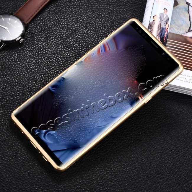 cheap For Samsung Galaxy Note 9 Deluxe Aluminum Metal Genuine Leather Protective Back Case - Gold&Dark Blue