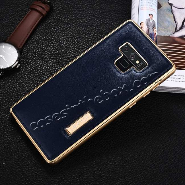 discount For Samsung Galaxy Note 9 Deluxe Aluminum Metal Genuine Leather Protective Back Case - Gold&Dark Blue