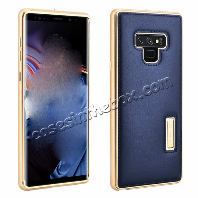 wholesale For Samsung Galaxy Note 9 Deluxe Aluminum Metal Genuine Leather Protective Back Case - Gold&Dark Blue